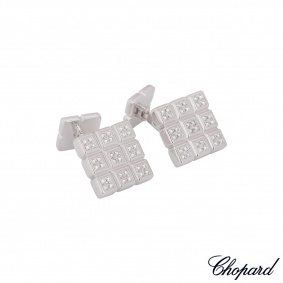 Chopard White Gold Diamond Ice Cube Cufflinks 75/4099/0